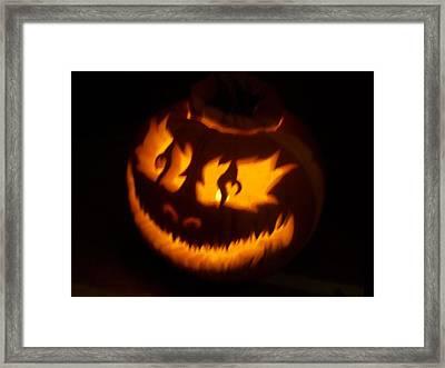 Flame Pumpkin Side Framed Print