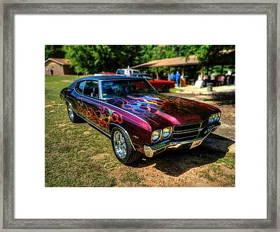 Flamed '70 Chevy Malibu 001 Framed Print by Lance Vaughn