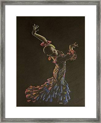Flamenco Dancer In Flowered Dress Framed Print by Martin Howard