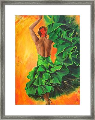 Flamenco Dancer In Green Dress Framed Print