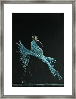 Flamenco Dancer In Shawl Framed Print by Martin Howard