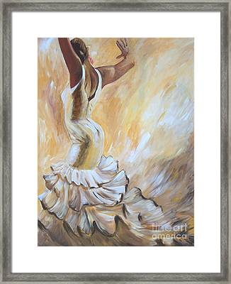 Flamenco Dancer In White Dress Framed Print