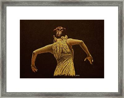Flamenco Dancer In Yellow Dress Framed Print by Martin Howard