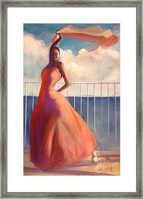 Flamenco Dancer Waving Scarf Framed Print