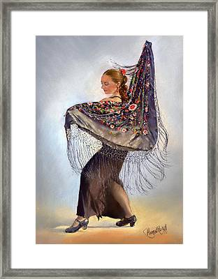 Flamenco Dancer With Shawl Framed Print by Margaret Merry