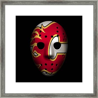 Flames Goalie Mask Framed Print