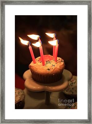 Flaming Birthday Cupcake Closeup Framed Print by Robert D  Brozek