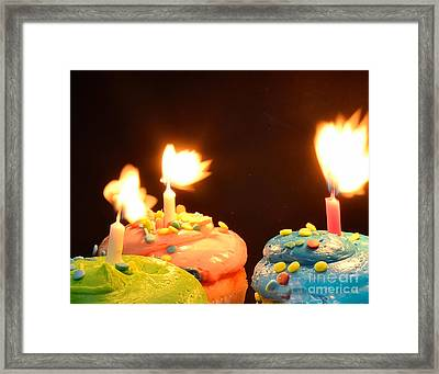 Flaming Cake Framed Print by Timothy OLeary