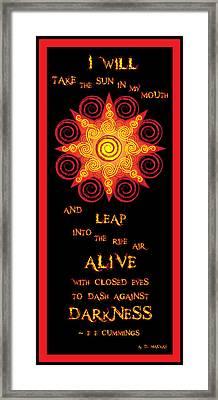 Flaming Celtic Sun Framed Print