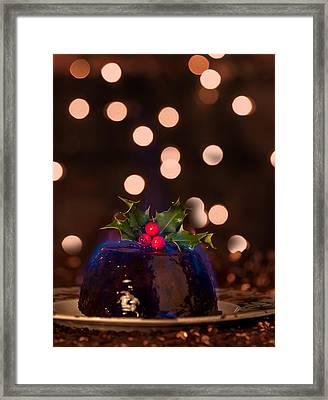 Flaming Christmas Pudding Framed Print by Amanda Elwell