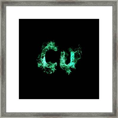 Flaming Copper Symbol Cu Framed Print by Science Photo Library