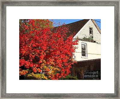 Framed Print featuring the photograph Flaming Fall Colours On Farm House by Nina Silver