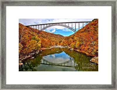 Flaming Fall Foliage At New River Gorge Framed Print