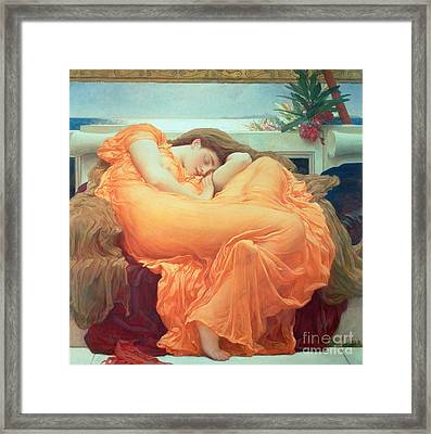 Flaming June Framed Print by Frederic Leighton
