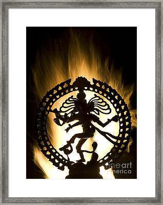 Flaming Natarja Framed Print by Tim Gainey