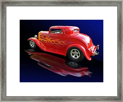 Flaming Roadster Framed Print by Gill Billington