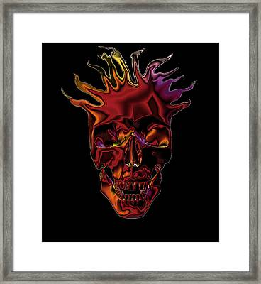 Framed Print featuring the digital art Flaming Skull by Denise Beverly