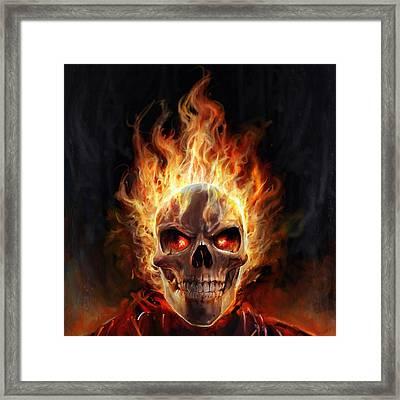 Flaming Skull Framed Print by Steve Goad