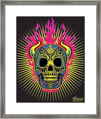 Flaming Skull Framed Print by Tony Rubino