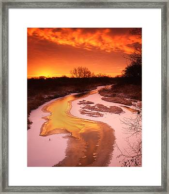 Flaming Sunrise Framed Print by Ray Mathis