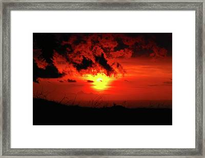 Flaming Sunset Framed Print by Christi Kraft