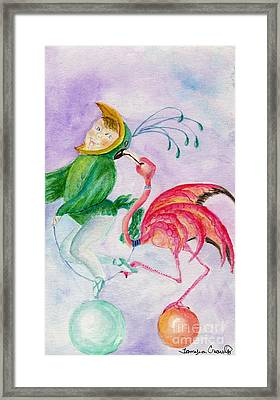 Framed Print featuring the painting Flamingo Circus by Tamyra Crossley