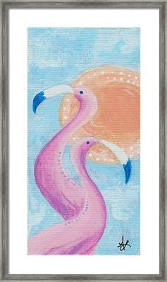 Flamingo Dancers Framed Print by Aprille Lipton
