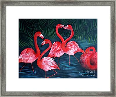 Flamingo Love. Inspirations Collection. Special Greeting Card Framed Print