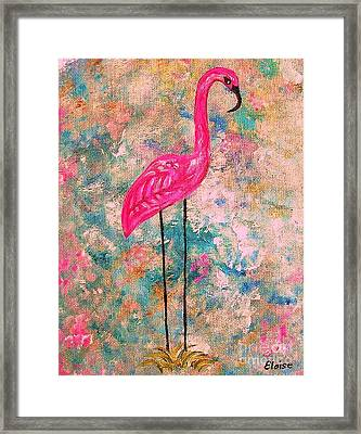 Flamingo On Pink And Blue Framed Print by Eloise Schneider