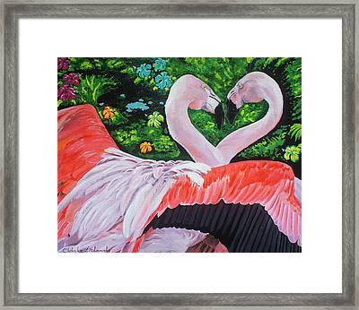 Flamingo Paradise Framed Print by Chikako Hashimoto Lichnowsky