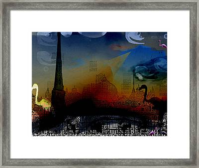 Framed Print featuring the digital art Flamingo Pink Gone by Cathy Anderson