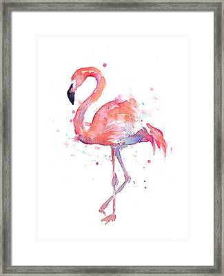 Flamingo Watercolor Framed Print