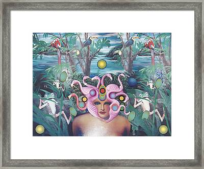 Framed Print featuring the mixed media Flamingodeusa by Douglas Fromm
