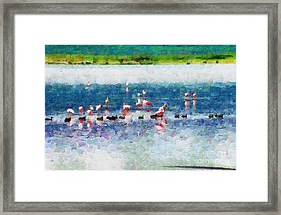 Flamingos And Ducks Painting Framed Print by George Fedin and Magomed Magomedagaev