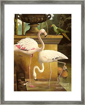 Flamingos Framed Print by Lizzie Riches