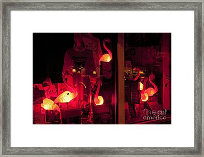 Flamingos On Market Street Framed Print
