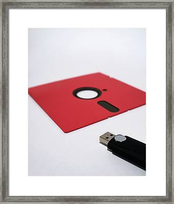 Flash Drive And Floppy Disk Framed Print by Robert Brook