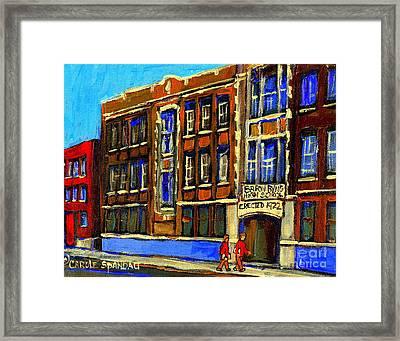 Flashback To Sixties Montreal Memories Baron Byng High School Vintage Landmark St. Urbain City Scene Framed Print by Carole Spandau