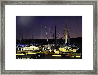 Twilight Marina Sail Boats Framed Print by ARTography by Pamela Smale Williams