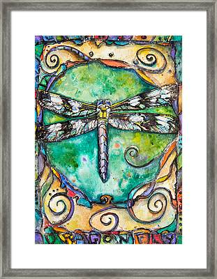 Flashy Dragonfly Children Of The Earth Series Framed Print by Patricia Allingham Carlson