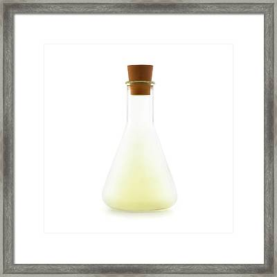 Flask Containing Chlorine Framed Print by Science Photo Library