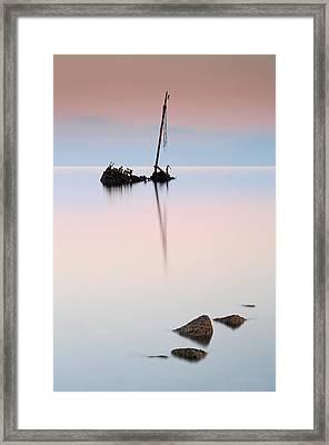Flat Calm Shipwreck  Framed Print by Grant Glendinning