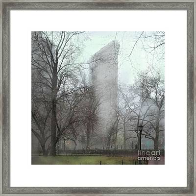 Flat Iron Building Framed Print by Carrie Joy Byrnes