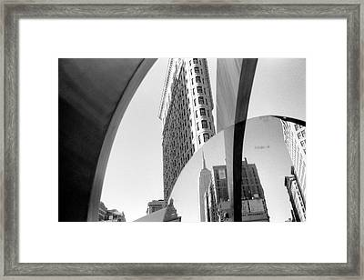 Framed Print featuring the photograph Flat Iron Building Empire State Mirror by Dave Beckerman