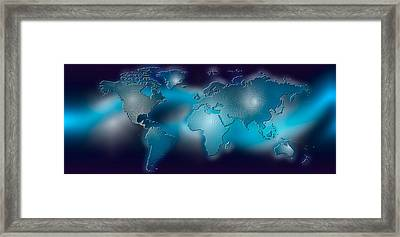 Flat World Map On Blue Background Framed Print by Panoramic Images