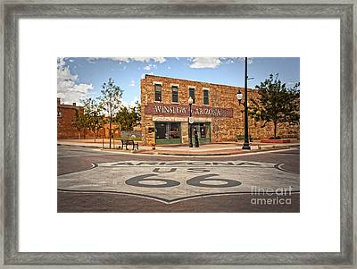 Flatbed Ford And Winslow Route 66 Framed Print by Lee Craig