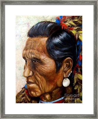 Flathead Indian Chief Framed Print by Amanda Hukill