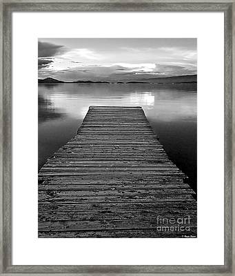 Flathead Lake Dock Sunset - Black And White Framed Print by Brian Stamm