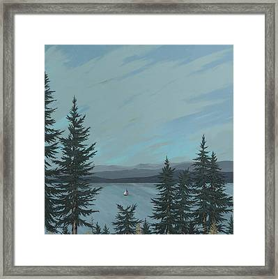 Flathead Sailboat Framed Print by John Wyckoff