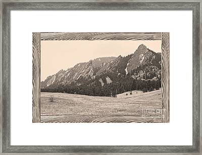 Flatiron Barn Wood Picture Window Frame Sepia View Framed Print